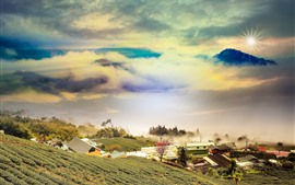 Горы, склон, облака, дома, деревня, туман, восход солнца