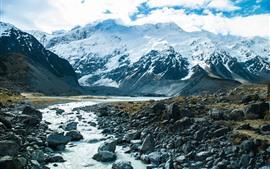 Горы, снег, река, скалы