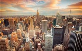 壁紙のプレビュー ニューヨーク、夕暮れ、高層ビル、サンセット、都市、アメリカ