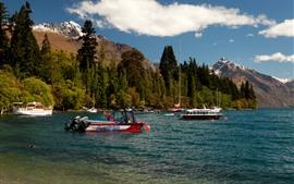 Nueva Zelanda, Queenstown, Lago Wakatipu, Montañas, Árboles, Barcos, Yates
