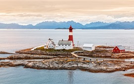 Norway, lighthouse, houses, sea, coast