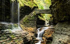 Preview wallpaper Park, waterfall, ladder, bridge, rocks, USA