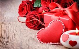 Rosas vermelhas, amor coração, presente, vela, romântico