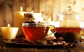 壁紙のプレビュー 赤茶、ガラスカップ、やかん、キャンドル