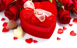 Rosas românticas, vermelhas, amor corações, presente
