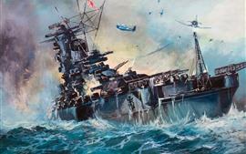 Aperçu fond d'écran Mer, navire, ww2, tableau d'art