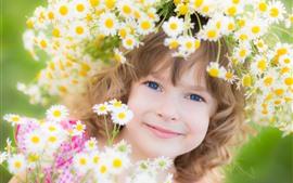 Sorriso menina, criança, flores, grinalda