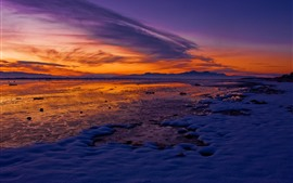 Preview wallpaper Snow, lake, lakeside, mountains, winter, sunset, red sky