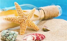 Preview wallpaper Starfish, bottle, sands, seashell