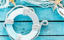 Estrela do mar, malha, rodada, placa de madeira, ainda vida