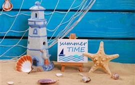 Ainda vida, areias, brinquedo do farol, estrela do mar, concha
