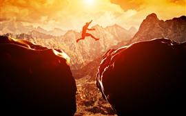 Закат, камни, человек, прыжки, горы