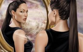 Tomb Raider, Lara Croft, Foto de arte, mira al espejo