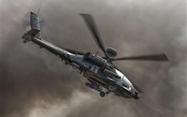 Helicóptero apache, cielo, nubes negras