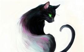 预览壁纸 艺术画,黑猫,回头看,绿色的眼睛,书