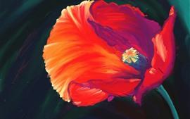 Pintura de arte, flor roja, pétalos.
