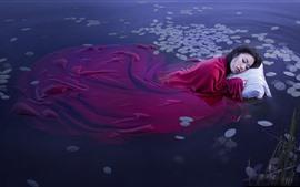 Vorschau des Hintergrundbilder Asiatisches Mädchen schlafen im Seewasser, rote Decke