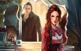 预览壁纸 美丽的女孩,长头发,镜子,动漫