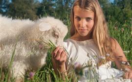 Blonde girl and sheep, wildflowers