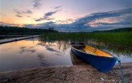 Barco, río, hierba, atardecer, nubes
