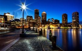 Preview wallpaper Boston, megapolis, night, city, skyscrapers, lights, river, USA