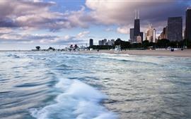 Чикаго, небоскребы, море, волны, пляж, город, США