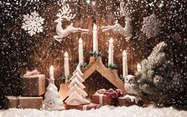 Рождество, свечи, снег, снежинка, олень, сова, игрушка, украшение