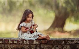 Menina, guitarra, criança