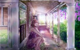 Vorschau des Hintergrundbilder Fantasie-Mädchen, rosa Blumen, Haus, Look, Kunstbild
