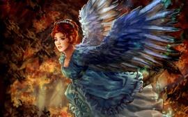 预览壁纸 幻想女孩,红头发,翅膀,艺术画
