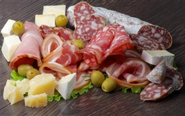 Preview wallpaper Food, olives, cheese, sausage, bacon, cuts