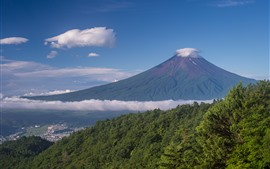 Monte Fuji, Montañas, Árboles, Nubes, Japón