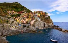 Италия, Чинкве Терре, Манарола, море, лодки, дома, побережье