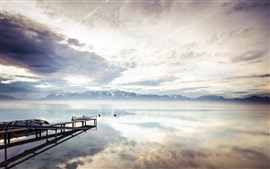 Lago Ginebra, Suiza, Pier, Montañas, Nubes