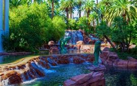 Preview wallpaper Las Vegas, palm trees, waterfall, park, USA