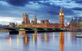 预览壁纸 伦敦,英国,大本钟,河流,桥梁,黄昏,灯光