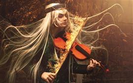 Длинные волосы девушка, скрипка, огонь, магия, творческая картина