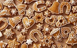 Многие рождественские печенья, любовное сердце, снежинка, колокол