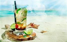 Мохито, коктейль, лайм, пляж, солнечный свет, море