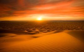 Vorschau des Hintergrundbilder Marokko, Wüste, Sonnenuntergang, roter Himmel