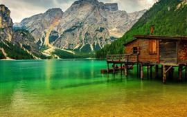 Горы, деревья, озеро, пирс, Италия