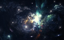 Aperçu fond d'écran Nébuleuse, espace, galaxie, étoiles, lumineux