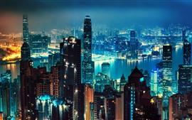 Nacht ansehen Die Stadt, Hongkong, Wolkenkratzer, Lichter