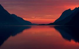 Норвегия, фьорд, горы, ночь, море, силуэт