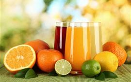 Aperçu fond d'écran Oranges, citron vert, citron, deux tasses de boisson, jus de jus