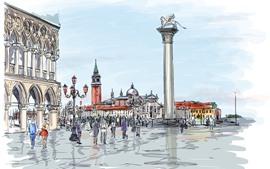 預覽桌布 繪畫,城市,人