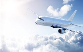 预览壁纸 客机,天空,云彩,阳光