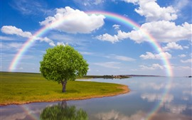River, tree, rainbow, sky, clouds
