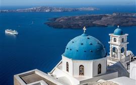 Aperçu fond d'écran Santorin, Grèce, Mer bleue, navire