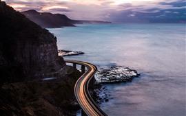 Mar, costa, estrada, linhas de luz, paisagem da natureza